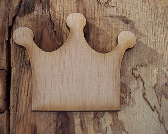 2 pieces Wood Crown design - Plywood 4 mm Unfinished - Ready to paint