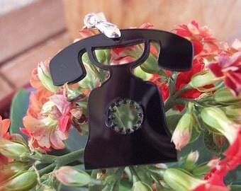 Black Telephone Pendant
