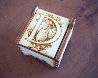 Secret Wood Box - Letters Collection - D4 -