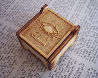 Secret Wood Box - Zodiac Collection - Cancer -