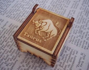 Secret Wood Box - Zodiac Collection - Taurus -