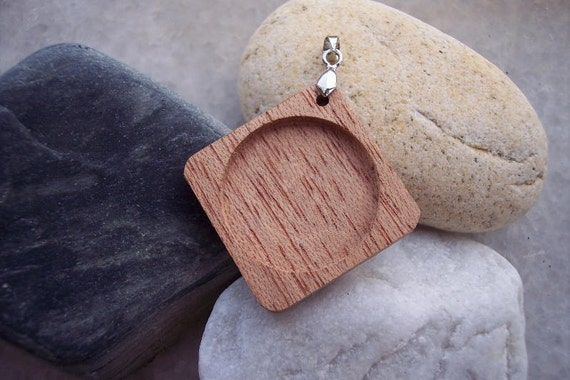 Mahogany wood rhombus design for making pendant or booch. DIY. Do It yourself (1 Piece)