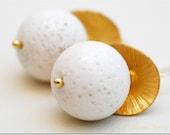 SUMMER SALE  White Coral Golden Earrings