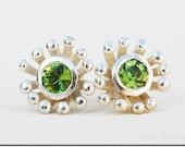 Green Peridot Silver Flower Earring Posts