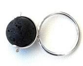 Santorini Lava Rock Silver Ring Free Rotating Bead