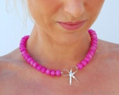 Ruby Pink Jade Necklace with Sterling Silver Ribbon Bow