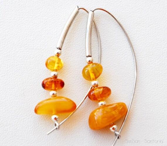 Earrings - Amber and Sterling Silver  Hoop Earrings
