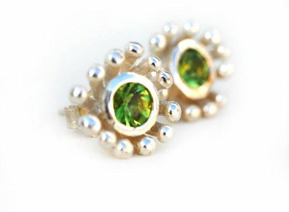 Earrings - Sterling Silver Flower and Peridot Stud Earring
