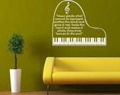 "Piano (quote) -- Vinyl Wall Art -- 24"" x 20"""