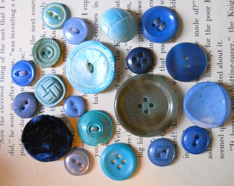 One of a Kind Buttons. Vintage hand-dyed buttons for crafts, sewing, or jewelry making- Blues