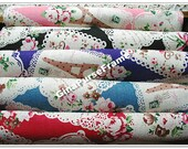 1yard--Linen Cotton Blended Fabric - Vintage Paris Tower and Lace Flower (5colors available)