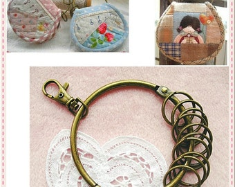 8.5cm(3 3/8 inch) vintage style large key ring (Bag purse metal frame for Purse making) (antique brass color)-1set