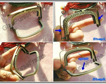 9cm (3 1/2inch) spring-automatic-opening embossed metal purse frame (color antique brass)-1piece New arrival