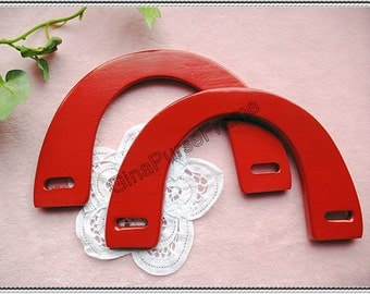1pair Wooden handle // purse bag handles (Red color)