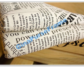 1yard--Linen Cotton Fabric - Vintage Newspapers (2color for choice)