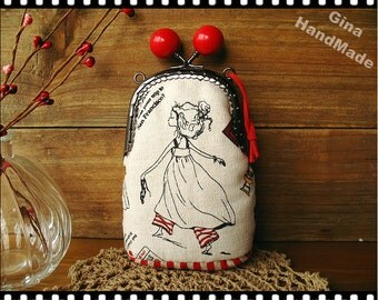 Girl in City Red candy bead Metal frame purse/coin purse / Coin Wallet /Pouch / Kiss lock frame bag-GinaHandMade