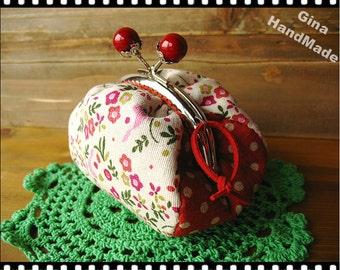 Red pearl flower spring Coin purse   /// Coin Wallet / Pouch coin purse / Kiss lock frame purse bag-GinaHandmade