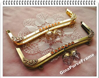 23.5cm (9 1/4inch) Bud-bead Metal purse frame large size with sewing holes inside (2color)-1piece