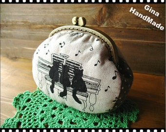 Cat and music Metal frame purse/coin purse / Coin Wallet /Pouch / Kiss lock frame bag-GinaHandMade