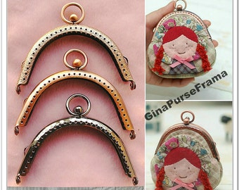 8.5cm (3 1/4 inch) Circle kiss lock Metal bag purse frame (3types available) -1piece