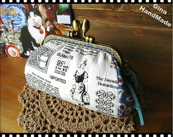 Country Newspaper Metal frame purse/coin purse / Coin Wallet /Pouch / Kiss lock frame bag-GinaHandMade