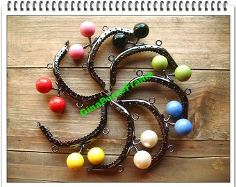 7pcs--8.5cm(3.25inch) Candy-bead metal bag purse frame (7 colors) with sewing holes for purse bag pouch making