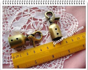 5set-End stopper / Rope stopper / Belt stopper swivel-snap hook (polished antique brass) Good quality