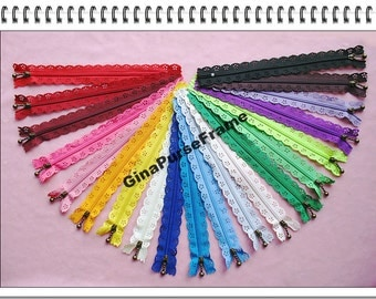 20pieces- Rainbow 20colors lace zipper for purse making with bead puller (purse bag metal frame)