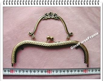 21cm (8inch) heart-shape handle metal bag purse frame with sewing-holes (color antique brass)-1piece