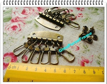5sets-Key organizer Key holder Key rings with rivets for purse making (bag purse metal frame)