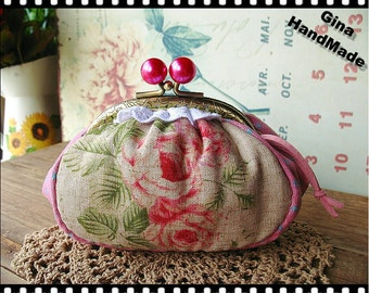 Pink Rose  Vintage style Metal frame purse/coin purse / Coin Wallet /Pouch / Kiss lock frame bag-GinaHandMade