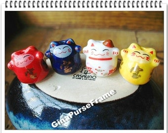 4pieces- Fortune cat Decoration China bead for purse bag nacklace making (bag purse metal frame)