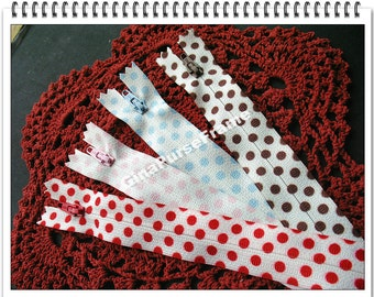 4pieces- Polka Dots Zipper for purse making bag making (1set include 4colors) (purse bag metal frame)