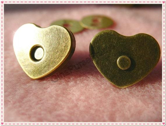 5sets width15mm heart-shape strong-magnetic purse snap closure button (color antique brass) (purse metal frame)