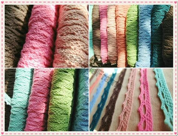5yards -Cotton fancy crochet trim Cotton lace Decoration for purse bag making
