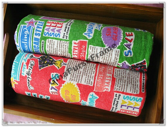 1yard--Linen Cotton Blended Fabric - Colorful newspaper (2colors available)