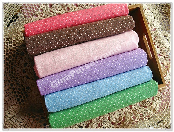 1yard--Linen Cotton Blended Fabric - mini Polka Dots (6colors available)