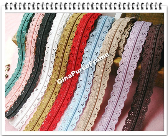 1yard- Free-length lace zipper (10color availale) for purse making incluing 3set pullers (purse bag metal frame)