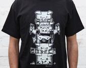 pig character totem black man white tshirt man shirt urban street girl t-shirt tee S M L XL t-shirt