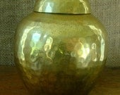V I N T A G E Brass Ginger Jar or Urn - Hammered Solid Brass Made in India