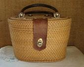 V I N T A G E Nantucket Style Woven Bag Basket Purse