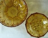 2 VINTAGE MID CENTURY Amber Glass Bowls