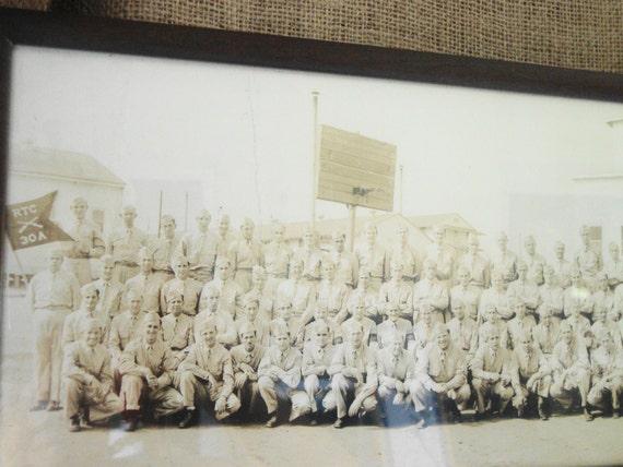 V I N T A G E 1942 Framed WWII Photograph Company A 30th Infantry Training Base Camp Croft  SC
