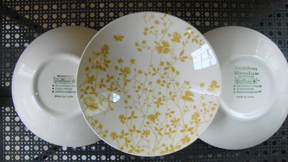 V I N T A G E Ironstone 4 Coupe Soup Bowls Sheffield Golden Meadow