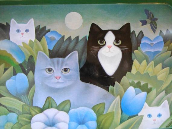 V I N T A G E Art Tray Cats & The Full Moon  by American Artist Martin Leman for J Luber