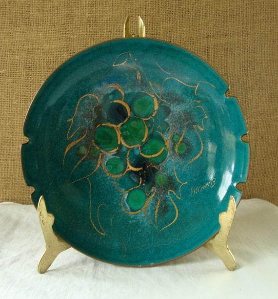 MID CENTURY  Modern Sascha Brastoff Footed Enamel Bowl