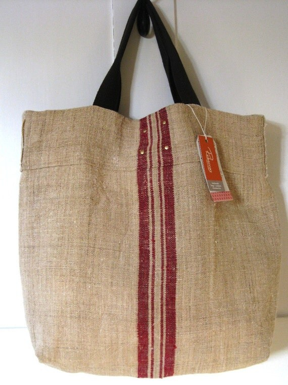 Beach Bag Red Stripe. Vintage Burlap Tote. Handmade with