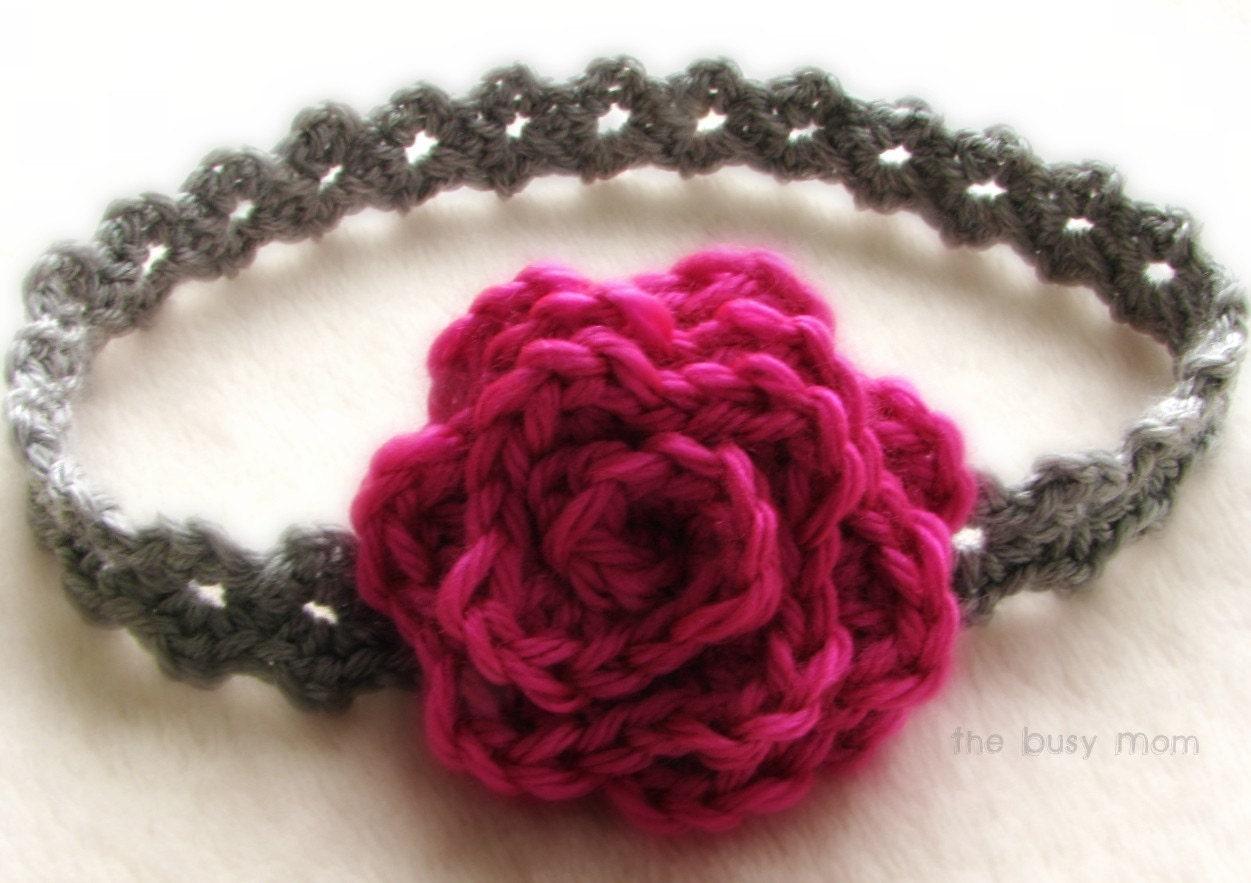 Crochet Flowers Patterns Headbands : CROCHET Headband PATTERN Elegance All sizes