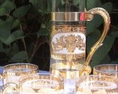 Rare Gold  Pitcher Set of Glass and Brass 32 Oz.