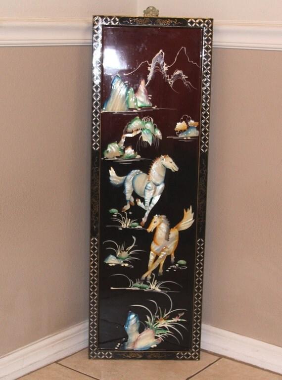 Vtg Oriental Framed Mother of Pearl Equine Wall Hanging